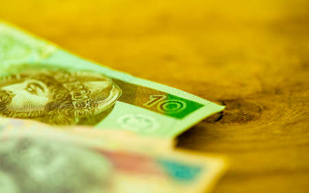 savings and loan crisis: Money and savings concept. Polish zloty banknotes currency on table,  with shallow depth of field