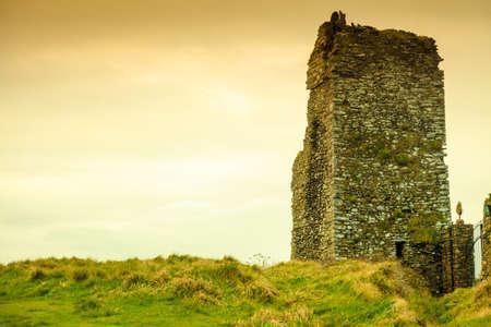 irish landscape: Irish landscape. Ruins of abandoned castle, County Cork, Ireland Europe.