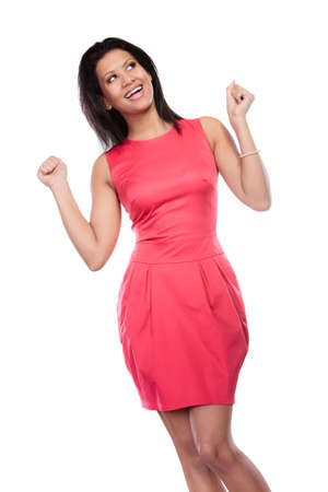 glad: Happy glad young mixed race woman girl enjoying raising arms in victory isolated on white. Joy and happiness.