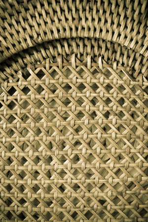 rattan mat: Closeup of beige basket. Wicker woven pattern for abstract background or texture