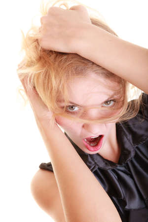 messy hair: Angry businesswoman crazy boss furious woman screaming and pulling messy hair isolated on white. Stress and negative emotions.