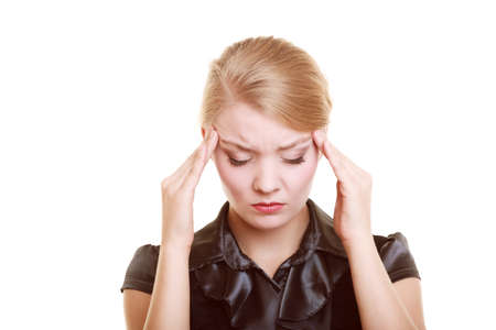 hurting: Headache, migraine and stress. Worried businesswoman upset woman suffering from head pain isolated on white.