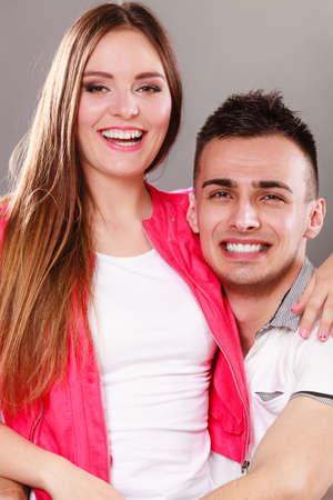feel feeling: Portrait of smiling woman and man posing. Happy joyful couple. Good relationship.