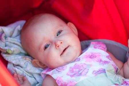 babyhood: Closeup of sweet little baby. Stock Photo