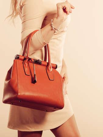 Belleza y la moda. Mujer de moda elegante con un vestido brillante que sostiene el bolso bolsa de color marrón, foto de estudio