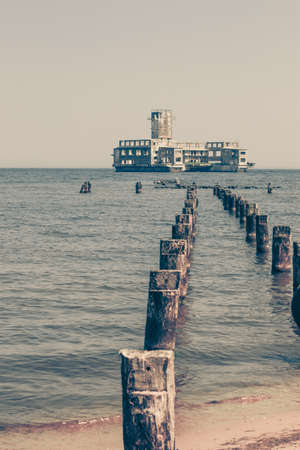 babie: Ruins of military army building built by german in Gdynia Poland during World War II. Sea landscape.