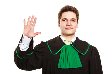toga: Understanding and explaining sending clear message. Young lawyer wear polish toga and show hand sign. Man make gesture hold five fingers in air.