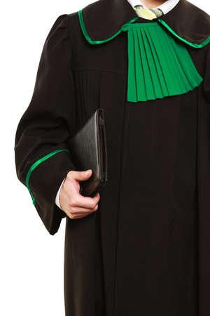 toga: Tecnolog�a y carrera de derecho. desgaste abogado polaco toga tableta asimiento ayuda de la computadora port�til con el futuro trabajo.