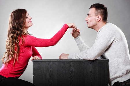 polite: Polite man, husband kissing woman hand palm. Good, happy relationship. Love couple concept.