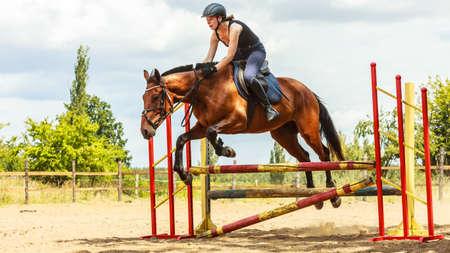 salto de valla: Mujer activa chica entrenamiento jinete equitación saltar sobre la cerca. Competición deporte ecuestre y actividad.