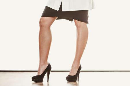footwear: Closeup of woman legs in high heels footwear boots.