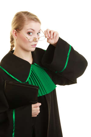 judicature: Law court or justice concept. Portrait young woman lawyer attorney wearing polish Poland black green gown on white