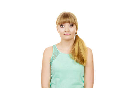 wide eyed: Concerned scared shocked woman. Emotional facial expression wide eyed girl surprised face isolated on white