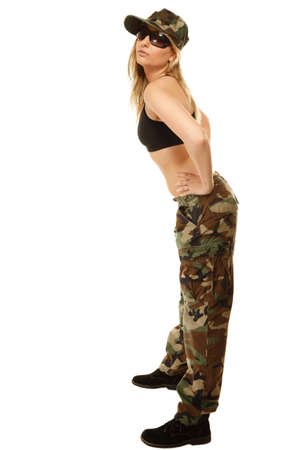 army girl: Beautiful sexy woman in military clothes fit army girl full length isolated on white