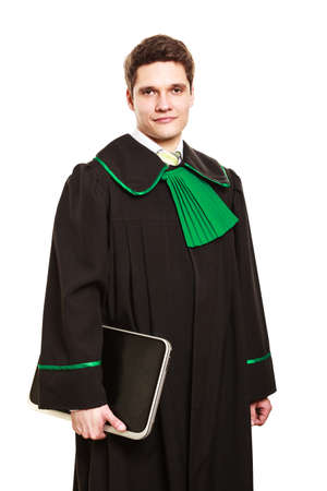 technology career: Technology and law career. Young male lawyer hold laptop portable computer help with work future.