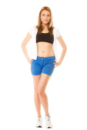 sportwear: Beautiful blonde girl in sportwear, young fit fitness woman in full length isolated on white. Stock Photo