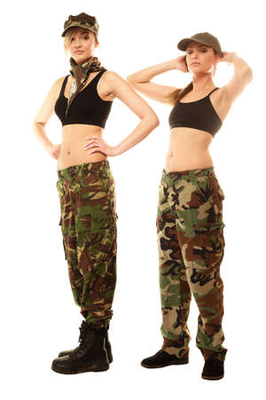army camo: Full length two women in military clothes army girls isolated on white