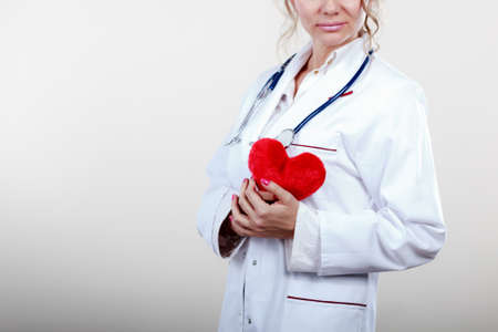 the cardiologist: Periodic examinations. Cardiology concept. Female cardiologist holding red heart. Middle aged doctor with stethoscope and white medical apron uniform. Stock Photo