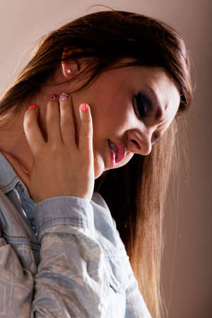 itchy: Health problem. Young woman scratching her itchy nack with allergy rash