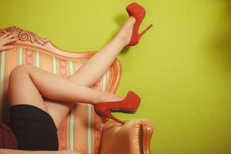 hotness: Closeup of sexy girl legs wearing high heels shoes. Woman fashion.