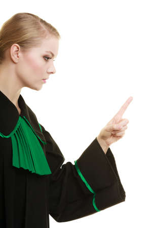 disapproving: Law court or justice concept. Woman female person lawyer attorney black green gown wagging her finger girl scolding isolated on white