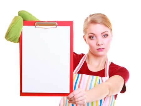 housewife wearing kitchen apron or small business owner entrepreneur barista shop assistant with empty blank banner sign for restaurant menu or recipe. Girl holding clipboard with copy space for text. Isolated on white