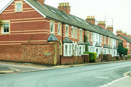 typically english: Row of Typical English Terraced Houses Stock Photo
