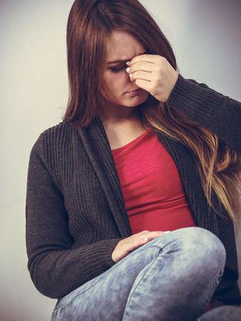 sinus: Sinus ache causing very paintful headache. Unhealthy woman in pain. Sharp strong sore.