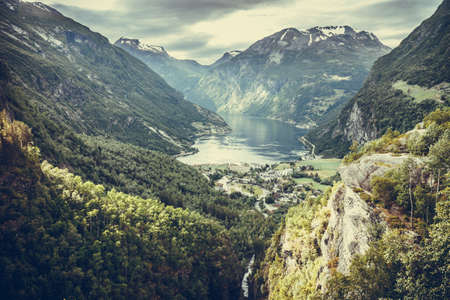 fantastic view: Tourism vacation and travel. Fantastic view on Geirangerfjord and green mountains landscape Norway Scandinavia.