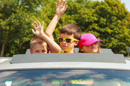 enjoyable: Summer holidays and common travel. Lovely happy active family on vacation trip. Relatives spending enjoyable good time together. Stock Photo