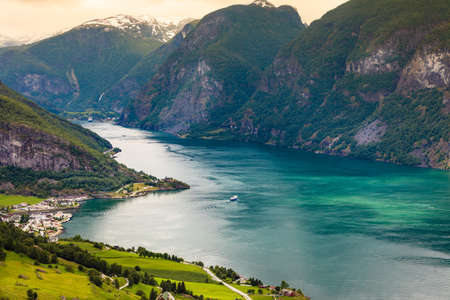 fantastic view: Tourism vacation and travel. Fantastic view of the Aurlandsfjord landscape from Stegastein viewpoint, Norway Scandinavia.