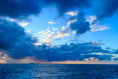 Beautiful seascape evening storm sea horizon and sky. Natural composition of nature. Landscape. Stock Photo