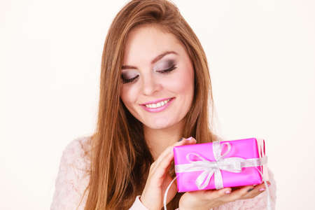 suprise: Occasions gifts people concept. Christmas xmas winter season. Lovely woman with pink rose box gift