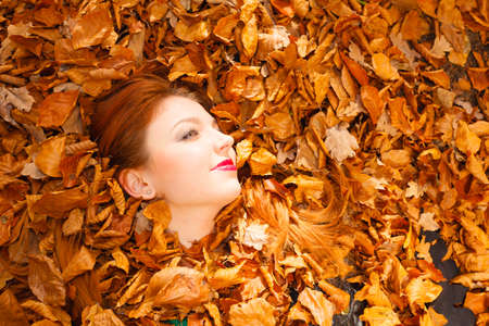 red haired woman: Face red haired woman among yellow autumn leaves.