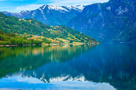 jostedalsbreen: Tourism vacation and travel. Mountains landscape and lake Oppstrynsvatnet in Jostedalsbreen National Park, Oppstryn (Stryn), Sogn og Fjordane county. Norway Scandinavia.
