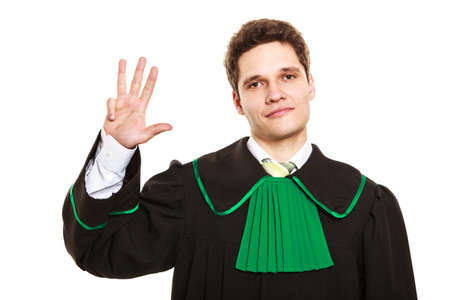 toga: Understanding and explaining sending clear message. Young lawyer wear polish toga and show hand sign. Man make gesture hold four fingers in air. Stock Photo
