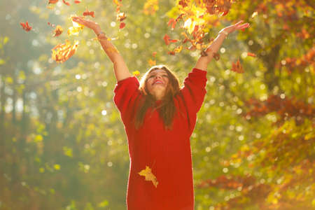 Nature outdoor vegetation joy entertainment relax concept. Lady playing with leaves. Youthful girl tossing around dried foliage having fun in autumnal woodland. Stock Photo