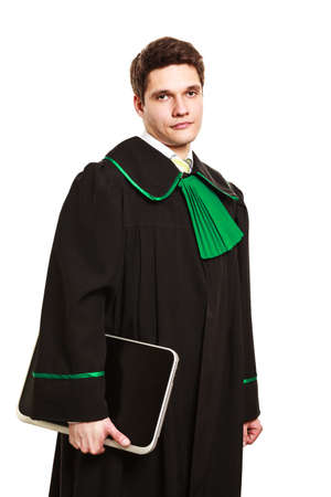 computer help: Technology and law career. Young male lawyer hold laptop portable computer help with work future.