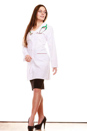 medical practitioner: Woman medical doctor with stethoscope wearing white coat. Professional health care. Stock Photo
