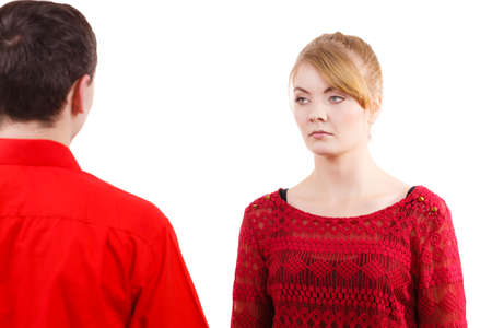 offended: Couple after quarrel offended sad serious. Bad relationship concept. Man and woman in disagreement.