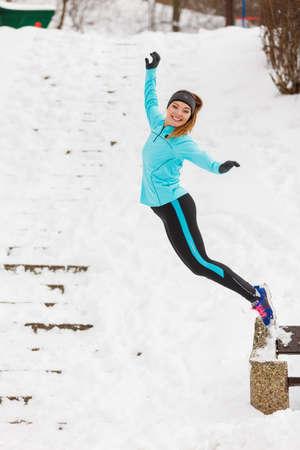 winter woman: Sporty woman in winter park.