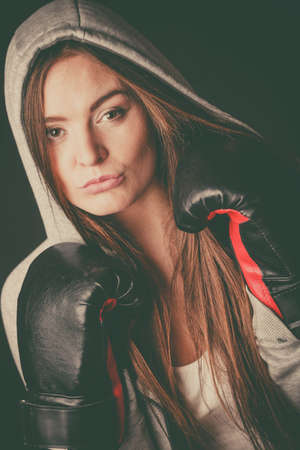 sportsmanship: Exercising prepare for fight. Sportsmanship and strong body. Young woman wear sportswear boxing with opponent. Sport and fitness healthy lifestyle.