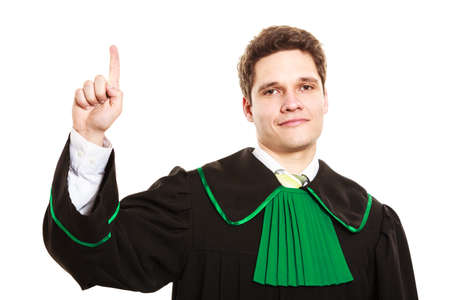 toga: Understanding and explaining sending clear message. Young lawyer wear polish toga and show hand sign. Man make gesture hold one finger in air.