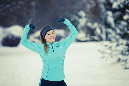 winter woman: Sporty woman in winter scenery.