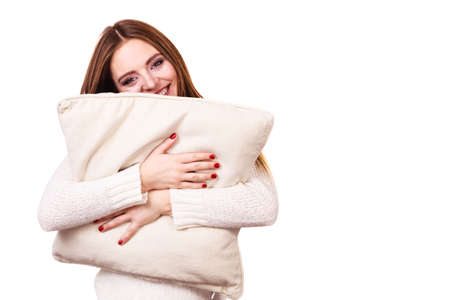 power nap: Happy smiling woman holding pillow, Health balance sleep concept. Stock Photo