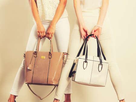 우아한 복장. 여성 패션. 가방 핸드백과 유행 옷에 두 여자. 톤 이미지 스톡 콘텐츠