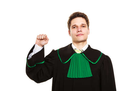 toga: Understanding and explaining sending clear message. Young lawyer wear polish toga and show hand sign. Man make gesture with hand hold fist.