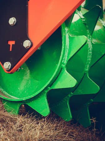harrow: Agriculture equipment concept. Detailed closeup of disc harrow, agricultural machinery. Outdoor shot