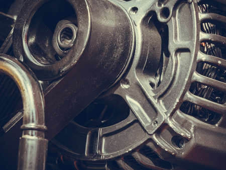 alternateur: Industrial electric auto motor concept. Detailed closeup of cross section in alternator generator machine engine Banque d'images