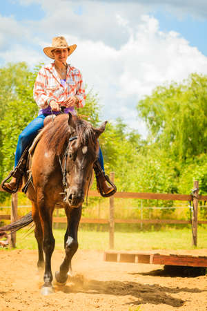 Taking care of animals, horsemanship, western competitions concept. Cowgirl doing horse riding on countryside meadow, sunny day outside Imagens